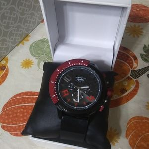 BRAND NEW NEVER WORE MENS RED AND BLACK WATCH